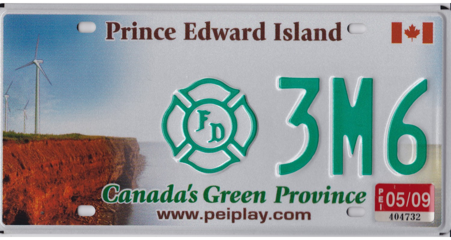 Prince Edward Island 2009 firefighter license plate