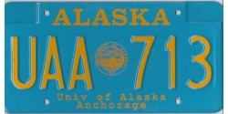 Alaska 90's ANCHORAGE University of Alaska license plate