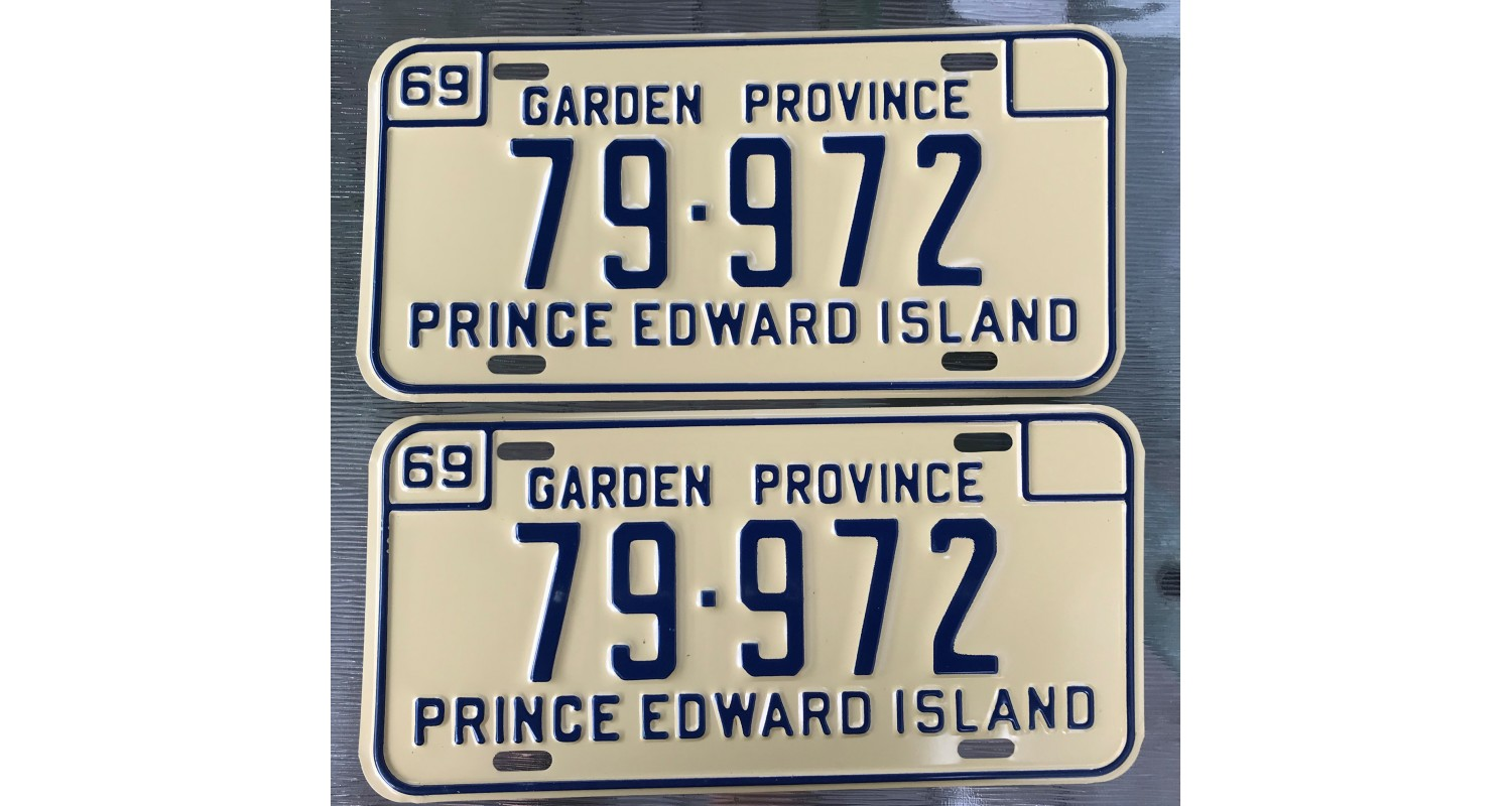Prince Edward Island 1969 pair of license plates