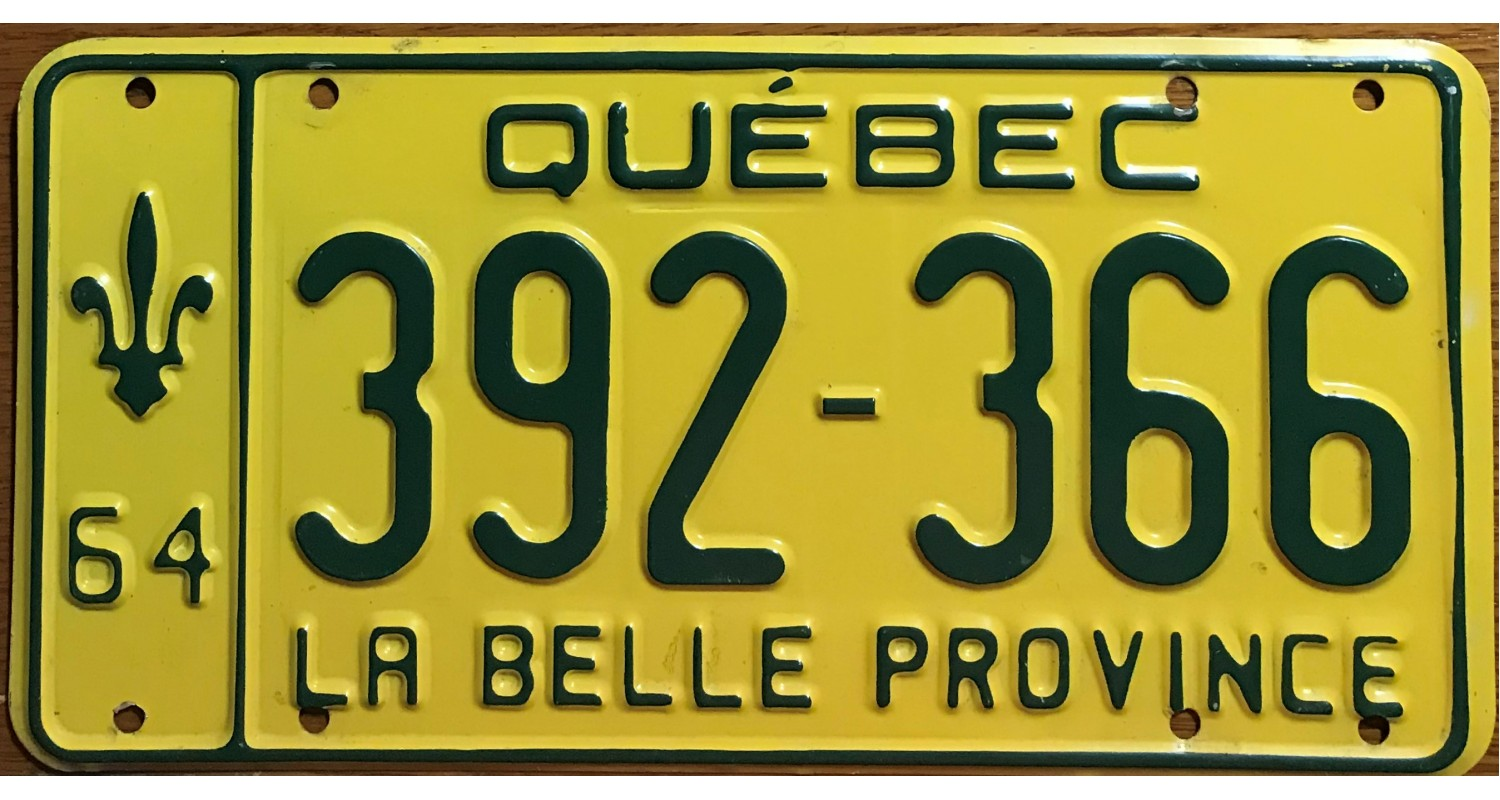 License plates of Quebec