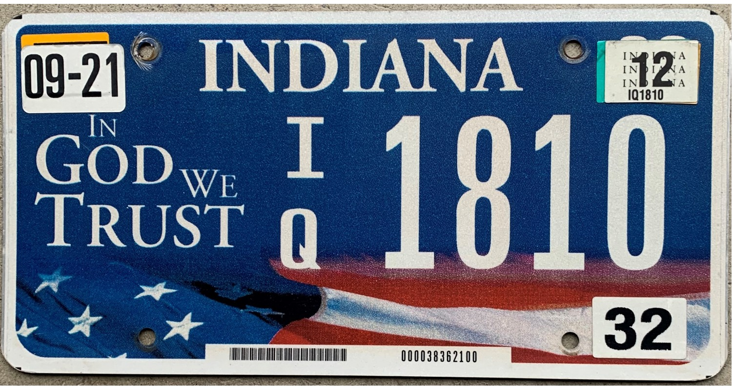 Indiana 2012-IN GOD WE TRUST-FLAG