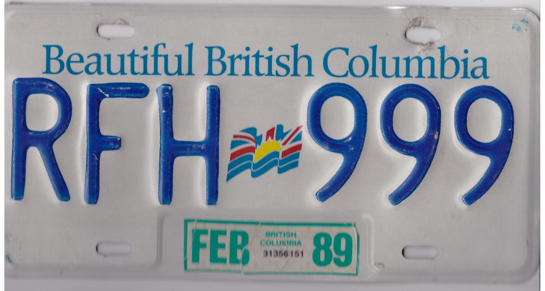 British Columbia 1989-TRIPLE 999-FLAG