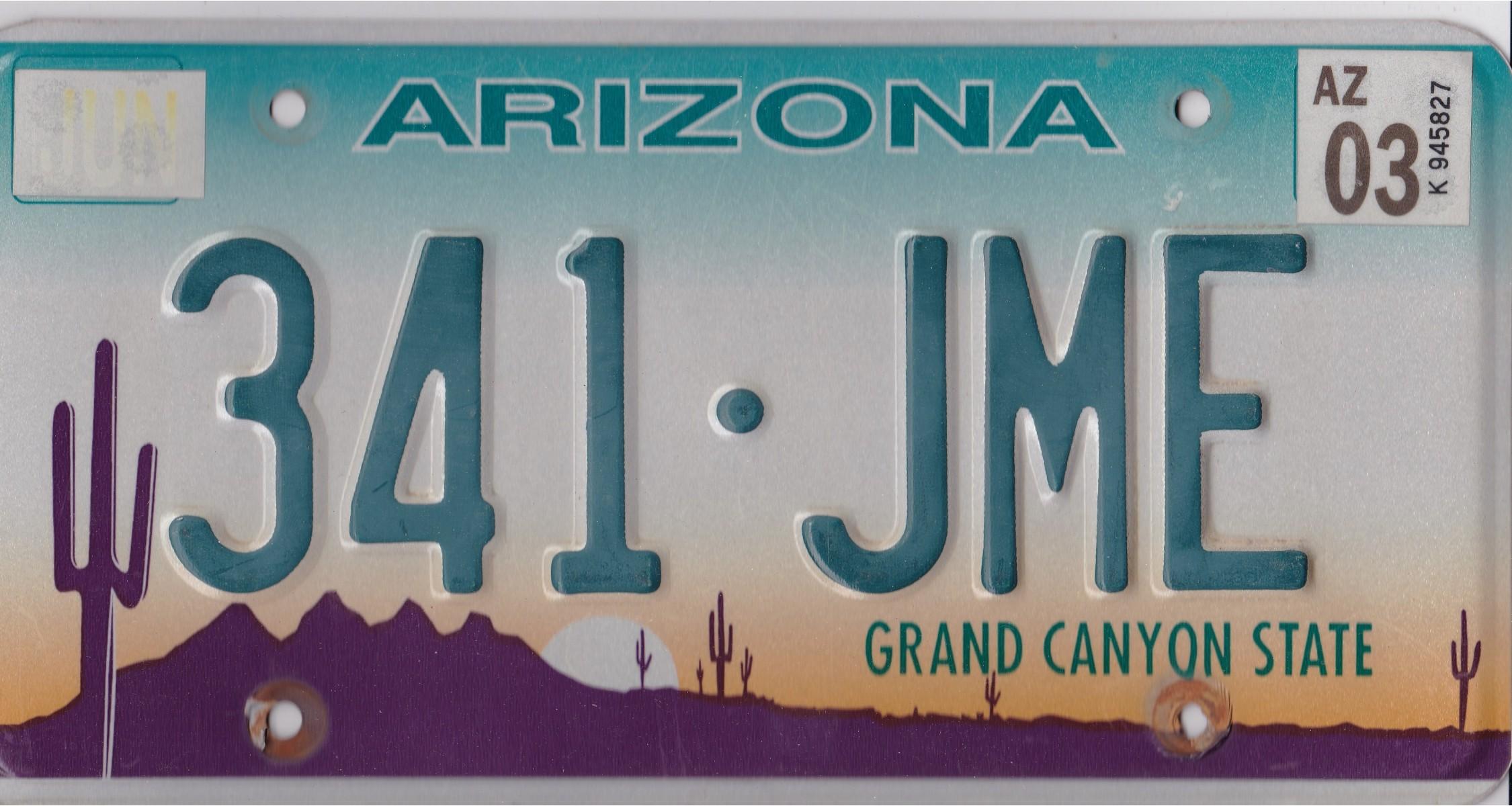 Arizona 2003 License Plate