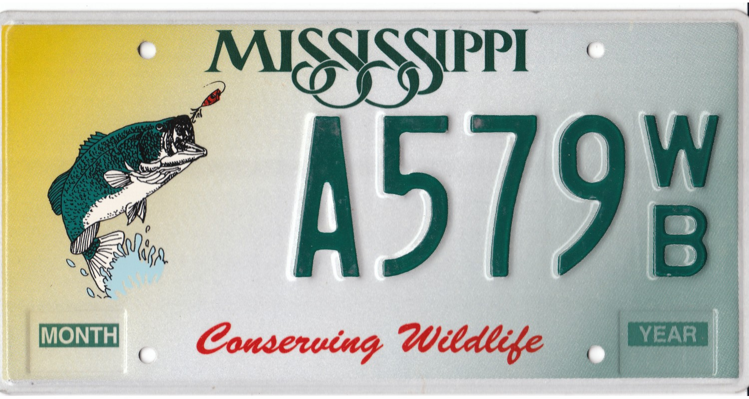 Mississippi license plates for Ms fishing license