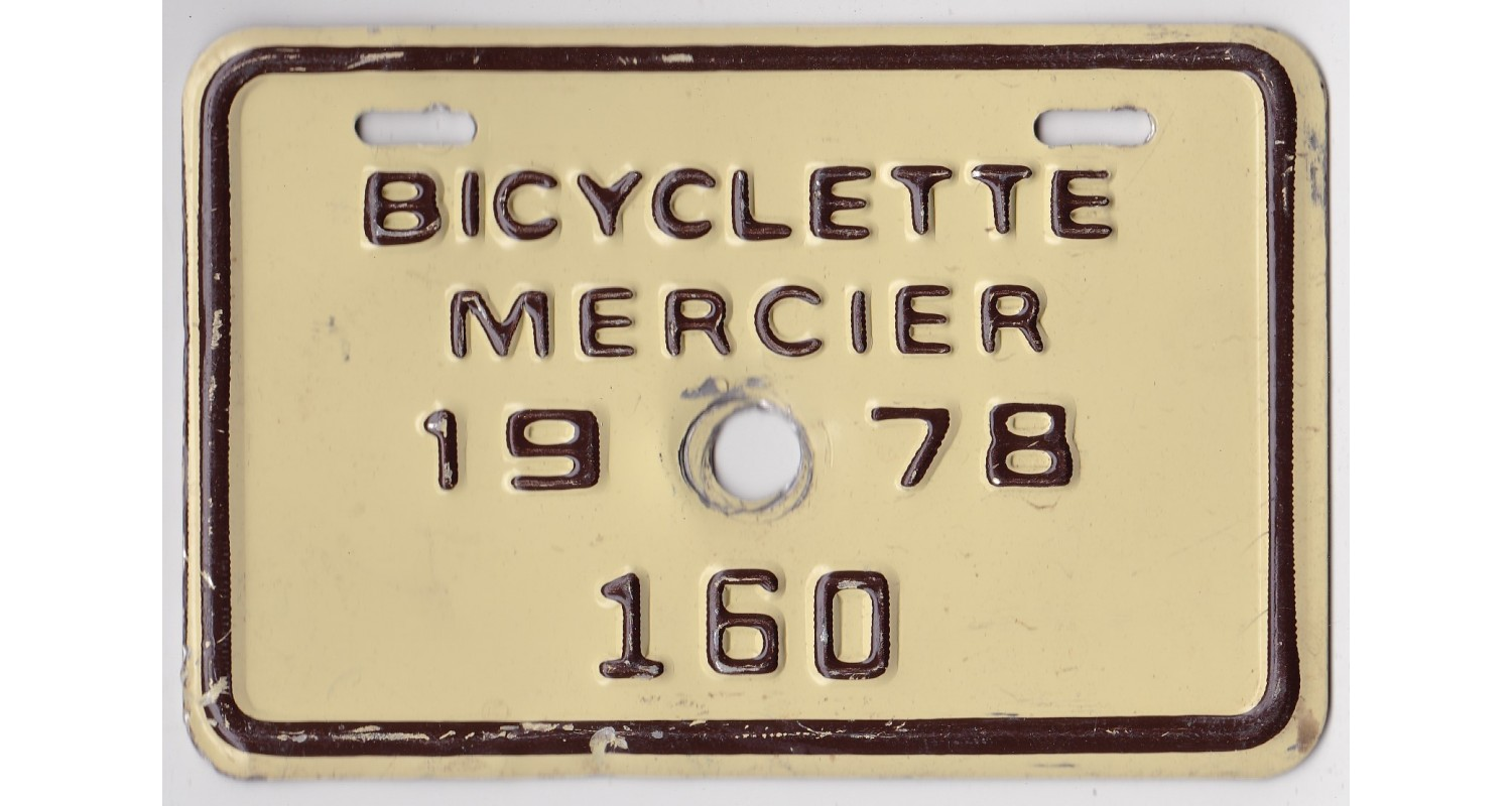 Quebec 1978 BICYCLE-MERCIER CITY-LOW NUMBER-160