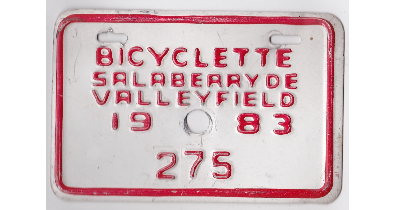 Quebec 1983 BICYCLE-SALABERRY DE VALLEYFIELD CITY-LOW NUMBER-275