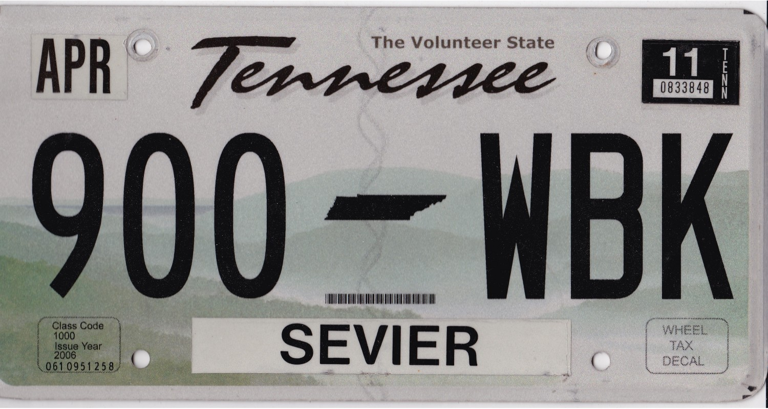 Tennessee 2000's-2010's-PLATE NUMBERS WILL BE DIFFERENT !