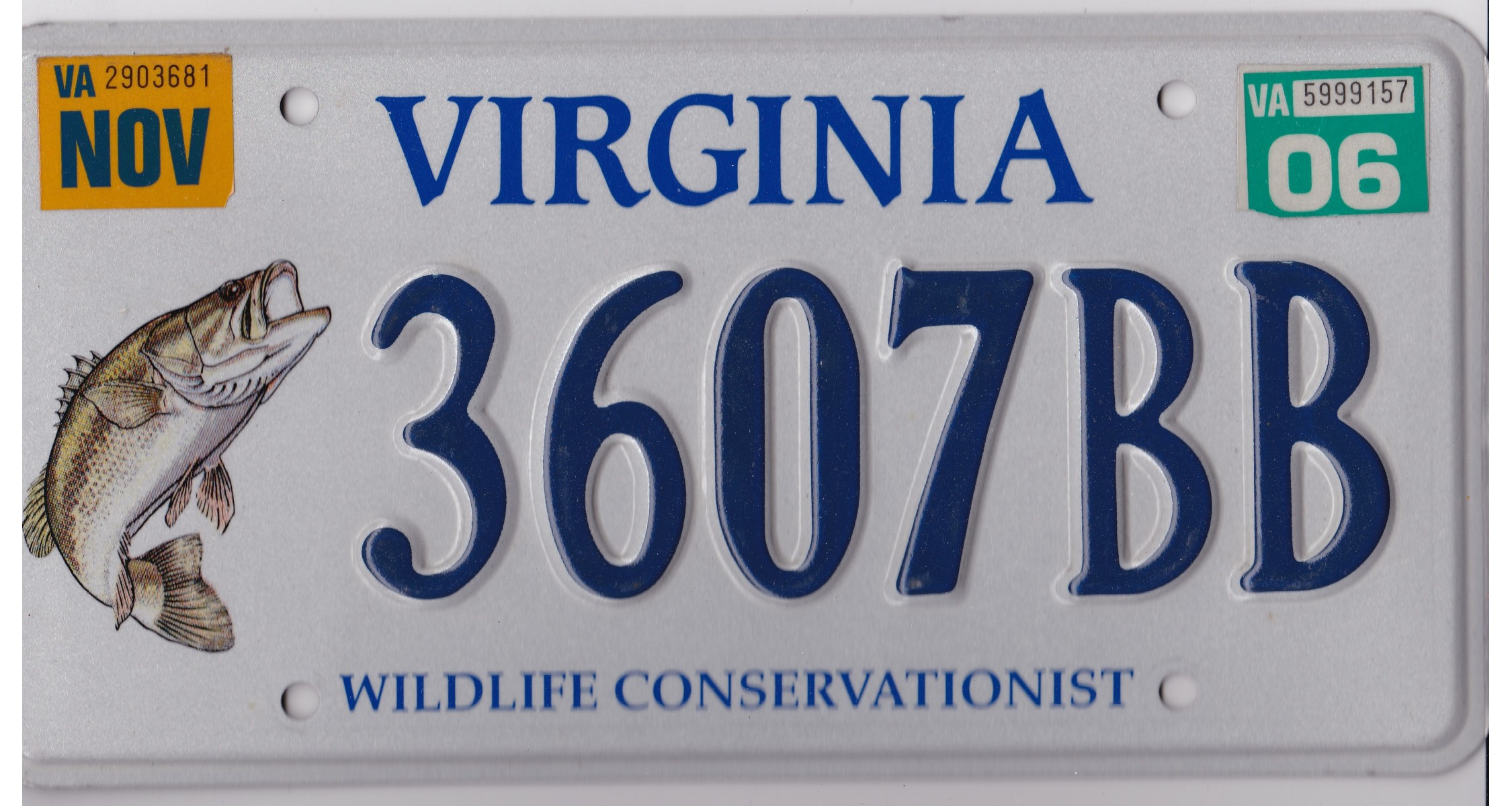 Virginia 2006 wildlife fish license plate for Virginia fishing license online